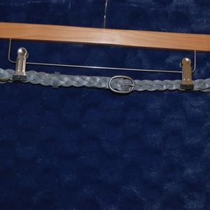 Leather Braided Belt with Silver Studs